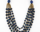 Acai Seed Necklace in Navy w/ Gold Accent Beading - TERRA Style