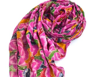 pink silk scarf, sequin shawl, ikat scarves, soft silk colorful scarf, bohemian boho tie dye indian scarf, coverup, long pink scarf