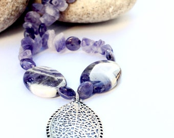 Amethyst Agate necklace - Amethyst necklace - Purple agate necklace - purple pendant necklace - purple stone jewelry - Free Shipping