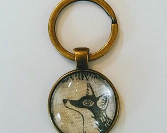 Fox Keyring, Gray Fox Keychain Pendant, Antique Bronze Glass Keyring, Animal Fabric Keyring