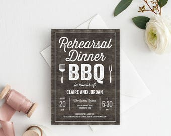 Printable Rustic BBQ Rehearsal Dinner Invitation #BQC