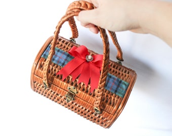 50s Wicker Bag • Weaved Rattan Bag • Straw Bag • Picnic Hamper • Beach Bag • Vintage Handbag • Gift For Her • Woven Box Bag • Kitsch Kawaii
