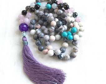 Mala Beads to Cleanse Negativity, Smoky Quartz, Pink Zebra Jasper, Moonstone Mala Necklace, Mixed Gemstone Mala, 108 Bead Mala Hand Knotted