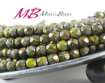 4mm 50 pcs Opaque Olive Czech Glass Beads, Faceted Fire Polished