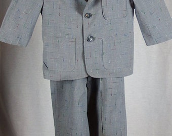 Vintage 1950s Boys Two-Piece Suit with Suspenders - Grey with Multi-Color Flecks