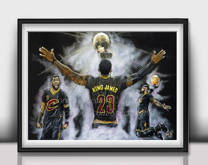 Featured listing image: Cleveland Cavaliers - Lebron James Art Print - 2016 NBA Champions - Wall Art - Man Cave Art - Cavaliers - Cavaliers Artwork - Dorm Decor