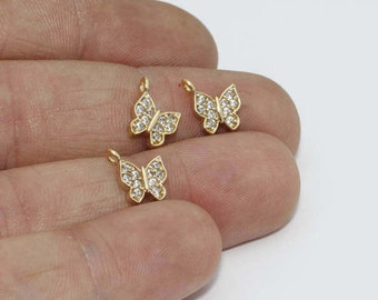Micro Pave Butterfly, 8x9mm , Cubic Zirconia Butterfly , Gold Plated Butterfly, Pendant Charms, zrcn458