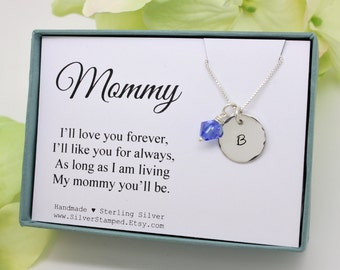 New mom gift for new mommy necklace, push gift, push present, personalized Gift for Wife, Sterling Silver Initial Birthstone necklace