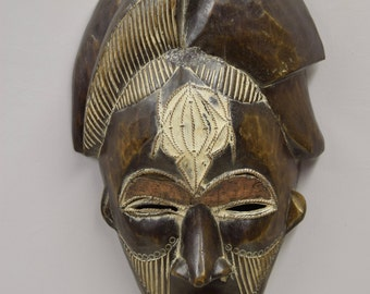 African Mask Punu Female Gabon Vintage Handmade Female Carved Wood Tribal Female Beauty Mask