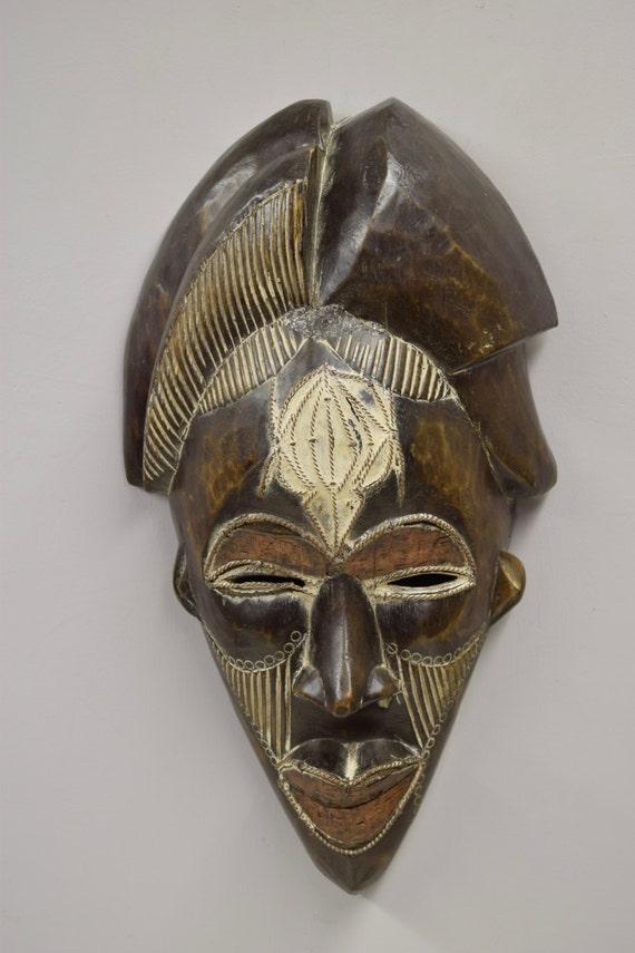 Mask Punu Female Mask Gabon Africa  Vintage Handmade Female Carved Wood Tribal African Mask Female Beauty Statement