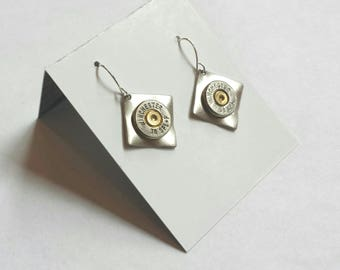 Silver Rustic Bullet Repurposed Industrial Mixed Metal Earrings, Cyberpunk Artisan Unisex Reconstructed Sporting Jewelry, Found Object Brass
