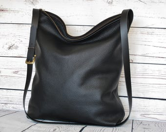 Black leather tote bag, real leather tote with zipper, slouchy leather purse, shoulder bag, big tote bag, cross body bag, leather cross body