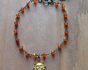 Carnelian Gemstone Rosary Bead and 18K Gold Dipped Matte Sun Charm Adjustable Oxidized Sterling Silver Chain Bracelet
