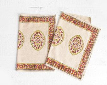 vintage block print placemats / indian cotton place mats / set of 2