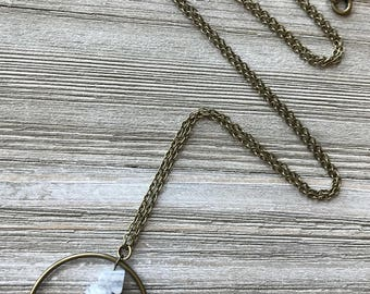 Blue Lace Agate Pendant Necklace // Long Necklace // Natural Stone Necklace // Gift for Her // Unique Necklace // Light Blue Stone Necklace