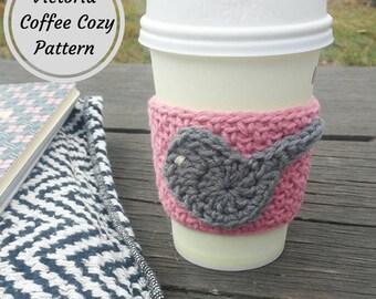 Victoria / Coffee Cozy Pattern / Beginner Crochet Pattern / Easy Crochet Pattern / Coffee Sleeve Pattern / DIY Coffee Cozy / Crochet Pattern