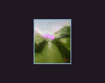 Fine art print, small, green and lilac pink, spring meadows, trees, hedges, A6 to A3 size