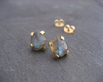 labradorite studs, rose cut earrings, color flash, blue green, irregular shaped, faceted labradorite, post earrings, multi color stone