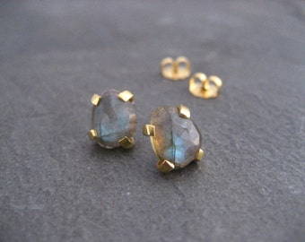 labradorite studs, rose cut earrings, flashy color, blue green, free form shape, faceted labradorite, gold and gemstone, multi color stone