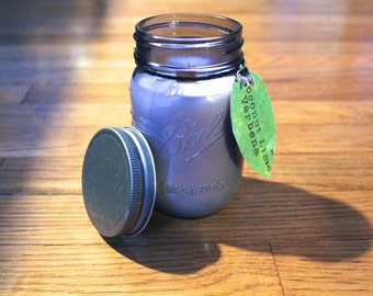 Coconut Lime Verbena Soy Candle - Plantable Tag - Soy Wax - Wood Wick - Wildflower Seed Tag - 16 oz. Soy Candle