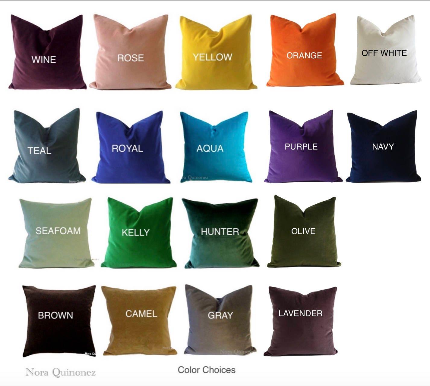 Decorative Velvet Pillow Cover -19 Color Choices- Accent Throw ...