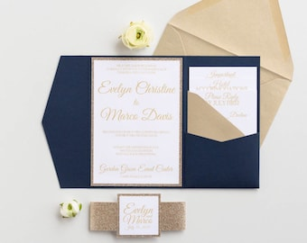Navy and gold Wedding Invitations with glitter, Navy Blue Pocketfold Wedding Invitations, Navy Glitter invitations, midnight blue, Evelyn