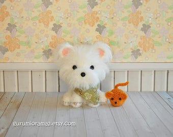 Kawaii Maltese, fuzzy white amigurumi dog, crochet puppy stuffed plush, mini golden mouse