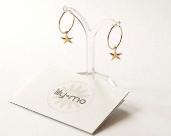 Gold star charm hoop earrings, celestial hoop earrings, starfish earrings, modern hoop earrings charm, small gold celestial earrings,