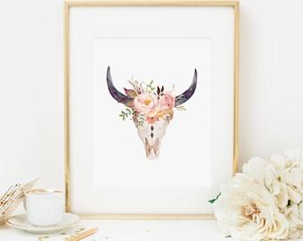Bohemian Bull Head Printable Boho Tribal Bull Horns Blush Floral Nursery Decor Pink Nursery Wall Art Girl Nursery Art Native Bull Skull 265