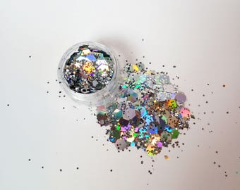 SPACE COWGIRL Silver Holographic Chunky Festival Glitter Face Glitter Body Glitter