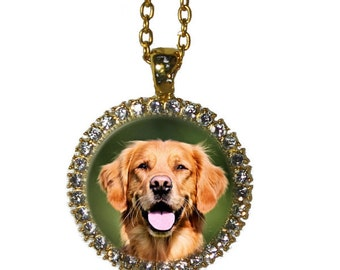 Gold Plated Custom Rhinestone Dog Portrait Picture Necklace  - Pet Memorial Jewellery - Keepsake Necklace - Round Photo Pendant Necklace