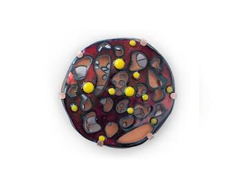 Contemporary Enamel Brooch, One of a kind brooch, Unique Art Brooch, Art Jewelry, Contemporary Jewelry, Enamel Jewelry