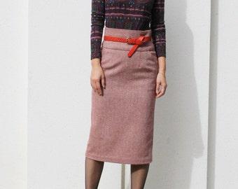 High Waist Pencil Skirt with Pocket, Wool Skirt, Straight Skirt, Midi Pencil Skirt, Office Skirt, Red Wool Skirt - Red Tweed Wool