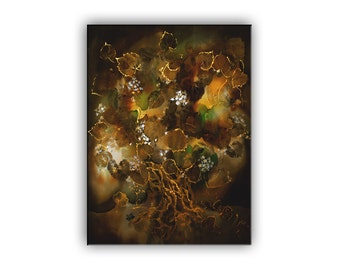 Fairy art, Eco print with alive leaves, homelike room decor, old lime tree with fireflies, giclee print on canvas, night landscape, brown