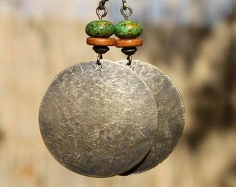 Boho Earrings Bohemian Earrings Brown Green Earrings Brass Dangle Ethnic Gypsy Hippie Jewelry Huge Discs ( 32 mm ) Gift For Her Gift Ideas
