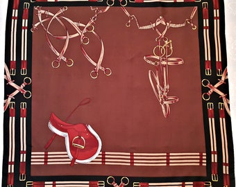 "Vintage Authentic Jole Veneziani Horse Harnesses Brown Brick Silk 35"" Square Scarf"