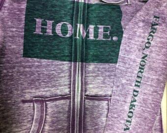 Custom HOME State Vintage Style Zip-up Hoodie