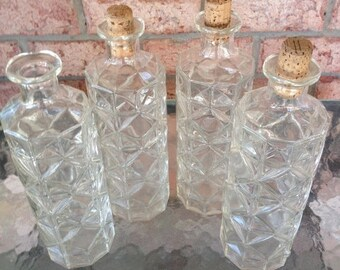 ON SALE Vintage Bottles, Diamond Cut Liquor Bottles, Bird Feeder, Holiday Container Set of 4