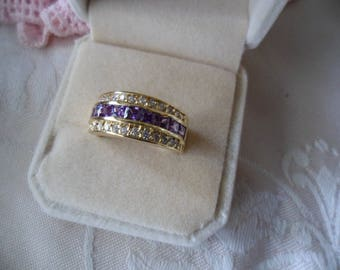 Antique vintage Gold Band Ring with Amethyst and Sapphire White stones ring Size 7 or O
