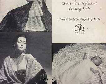 Vintage knitting pattern 1940's P&B 429 christening shawl/head shawl/evening shawl/evening stole