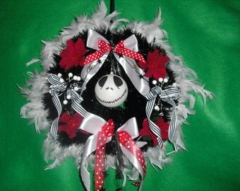 """Nightmare Before Christmas Wreath in red black white Jack Skellington Wreath with 8cm Jack bauble,poinsettia, berries white feathers  app14"""""""