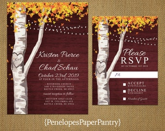 Elegant Rustic Burgundy Fall Wedding Invitation,Birch Tree,Fall Leaves,Carved Heart,Carved Initials,Fairy Lights,Printed Invitation,or Set