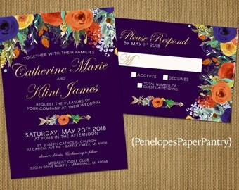 Elegant Purple Fall Wedding Invitation,Wildflowers,Burnt Orange,Gold,Purple,Floral Arrow,Gold Print,Shimmery,Romantic,Printed Invitation