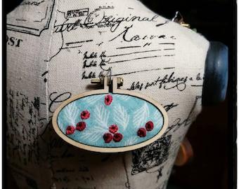 Winter Berries - miniature embroidery hoop necklace