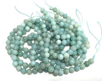 "Amazonite 8 mm round ball beads natural polished smooth blue gemstones 15.5"" strand"