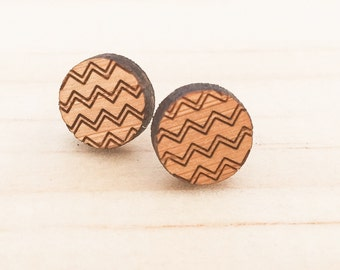 Earrings studs wood circles with zigzag chevron bamboo plywood and hypoallergenic surgical steel stud backing with butterfly clasp