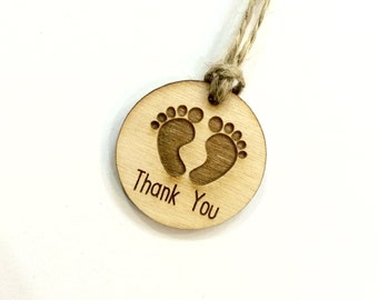 Baby shower favor thank you tags - wood thank you tags (set of 20)