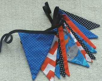 Shark-tastic fabric pennant bunting banner for parties or child's room