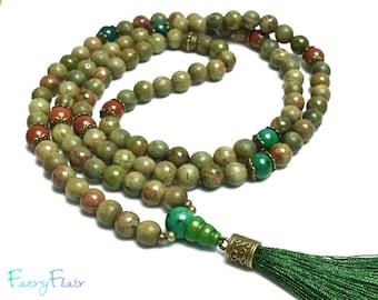 108 Mala Prayer Beads with Green Sandalwood, Unakite and Jasper   Mala Necklace Green Tassel Necklace Crystal Healing Yoga Gift Meditation