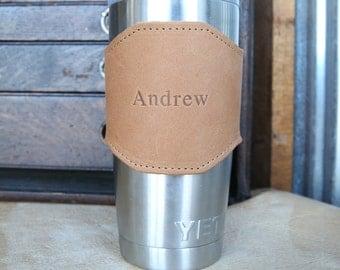 The Apollo for 20 oz Yeti Personalized Leather Drink Cooler Sleeve for YETI Rambler Tumbler Tumblers - Yeti Wrap